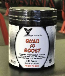 plastic container for a workout supplement named quad 4 boost