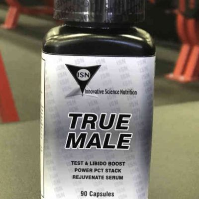 rectangular bottle of a workout supplement named true male